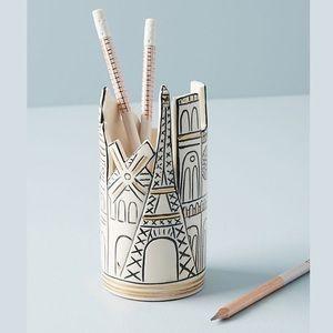 Anthropologie Paris Cityscape Pencil Cup NWT